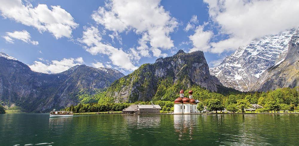 Königssee, St. Bartholomä, Watzmann, Watzmann Ostwand, Berchtesgaden, Nationalpark Berchtesgaden, Berchtesgadener Land, Schifffahrt Königssee